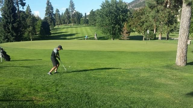 Casorso hits his delicate chip on the 18th