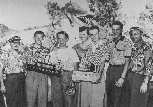 Ogopogo Open 1952. (left to right) Dr. A. Stan Underhill, Al Nelson, Ken Grandstrom, Cathy Archibald, Walt McElroy, Mel White, Fred Williams