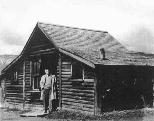 Clubhouse Shack circa 1921. E.M. Carruthers in Doorway