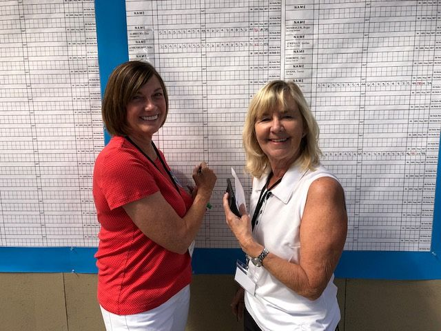 Cheryl and Sandy at the Scoreboard